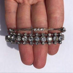 Bracelet set gray and rhinestone
